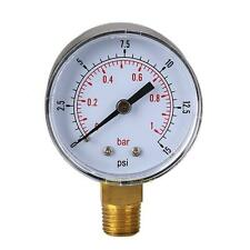 Low Pressure Gauge for Fuel Air Hydraulic 50mm 0/15 PSI 0/1 Bar 1/4 BSPT