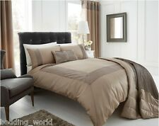 DOUBLE BED PEARL GOLD DUVET COVER SET MINK TAN LATTE FAUX SILK CRINKLE BORDER