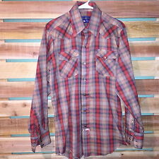 MENS PANHANDLE SLIM PLAID CHECKS PEARL SNAP WESTERN COUNTRY COWBOY L/S SHIRT M