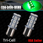 2 X1156 5050 18-LED Green BA15S Backup Reverse Turn Signal Bulb 250 LM 1141 RV