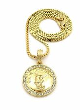 "MENS HIP HOP GOLD PT SAINT MICHAEL ARCHANGEL PENDANT W 24"" BOX CHAIN NECKLACE"