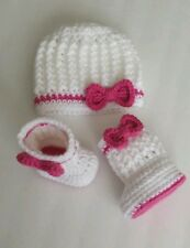 NEW Newborn Baby Girl Crochet bow Hat and Booties Crochet infant Photo Prop Gift