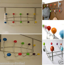 Multi Coloured Chrome 10 Hook Over Door Hat Coat Rack Hanger Hangers Cloth K1017