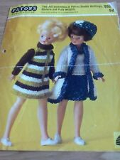 "Patons vintage pattern 952 Dolls clothes for 12"" teenage doll"