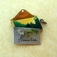 Antique French Enamel Daisy Flower Envelope Letter Charm Amitie Friendship