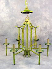 Vintage Hollywood Regency Pagoda Faux Bamboo Chandelier 6 arm with Black Shades