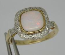 ***BEAUTIFUL ART DECO STYLE 9CT YELLOW GOLD OPAL & DIAMOND RING SIZE O**