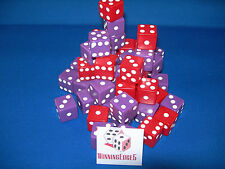NEW 6 ASSORTED OPAQUE DICE 16MM RED AND PURPLE, 2 COLORS 3 OF EACH COLOR