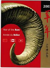 2003 TIMBRES CANADA / CHINA STAMPS  YEAR of the RAM  COMPLETE PACK