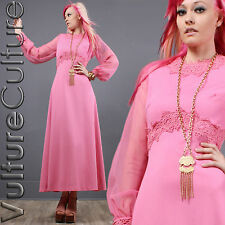 Vintage 60's Hippie Dress Pink Crochet Lace Empire Sheer Slv Goddess Long Maxi L