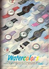1987 Timex Watercolors Watch Illustrated Print Ad Vintage Advertisement VTG 80s