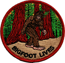 19621 Bigfoot Lives Walking Through Forest Sasquatch Embroidered Iron On Patch