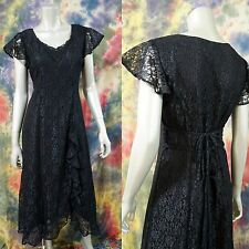 VTG 90's Grunge Festival Steampunk Gothic Blace Lace Dress Double Back Ties M