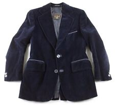 Cortefiel Men's 39 S Blue Velvet Leather Trim 2 Btn Smoking Dinner Jacket Blazer