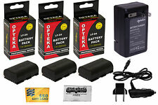 3x LP-E6 Battery + Rapid Travel Charger for Canon EOS 70D 7D Mark 5D II III DSLR