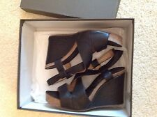 Pied a Terre black leather platform wedges