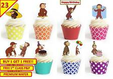 46 Curious George Cup Cake Fairy Edible Wafer Rice Toppers Birthday Stand up