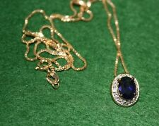 """Personal Collection! Enchanting Sapphire Necklace Diamante Accents Gold 18"""""""