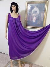 "LUCIE ANN 1973 ""vintage Nylon VIOLET Satin Banded Sleeve Nightgown size L large"