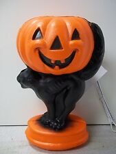"14"" Halloween Blow mold Yard Decor Light pumpkin jack O lantern black CAT"