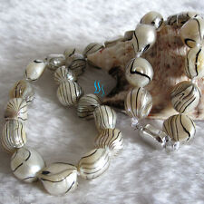"""18"""" 10-12mm White Black Water Wave Freshwater Mother of Pearl Necklace Dyed"""