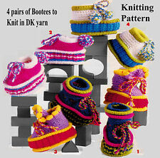 LOVELY 4 PAIRS OF BABIES BOOTEE TO KNIT,LAMINATED KNITTING PATTERN  6-12 MONTHS