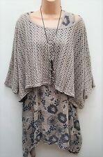 New Italian Lagenlook 2 pc cotton beige floral Tunic Dress Top uk 12 14 16 18