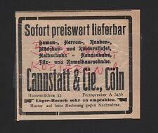 KÖLN, Werbung 1916, Cannstatt & Cie. Filz-Kamelhaar-Schuhe