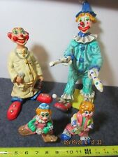 "lot of 4 vintage folk art paper mache circus clowns 5 1/2"" to 13 1/2"""