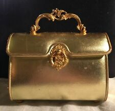 "VINTAGE NETTIE ROSENSTEIN AUTHENTIC BERGDORF GOODMAN GOLD BOXY ""LUNCHBOX"" PURSE"