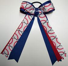 Softball Ponytail Holder Bow Red White Blue Ribbon Girl Baseball Hair Accessory