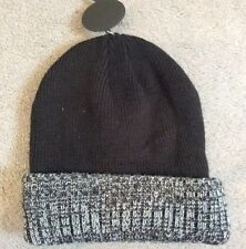 BLACK & GREY KNIT BEANIE HAT WITH BLACK HAT& GREY/BLACK FLECK TURN UP-NEXT -BNWT