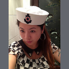 White Cotton Yacht Captain Skipper Sailor Navy Hat Cap Anchor For Fancy Dress