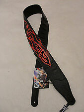 "LEVY'S MG26EP-001 2 1/2"" GARMENT LEATHER GUITAR STRAP PRINTED EMBROIDERE FLAMES"
