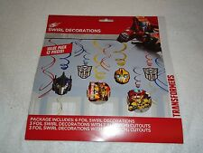 NEW TRANSFORMERS FOIL SWIRL DECORATIONS 12 PIECES