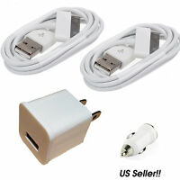 USB Home AC Wall+Car Charger + 2x 30Pin Data Sync Cable For iPod iPhone 3G 4 4S