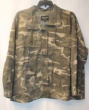 NEW WOMENS PLUS SIZE 4X 26W 28W GREEN CAMOFLAGUE CAMO TWILL ANORAK JACKET COAT