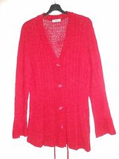 Wine/Red V-Neck Petite Cardigan Size 20