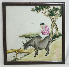 Chinese  Famille  Rose  Porcelain  Plaque  With  Frame   11