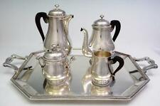 Christofle Perles Pattern Art Deco French Silver Tea Set With Tray