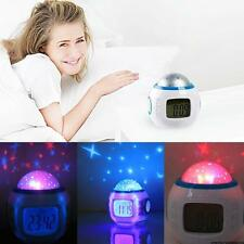 Baby Children Room Sky Star Night Light Projector Lamp Bedroom Alarm Clock music