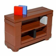 LEGO Furniture: Brown Book Case - Custom Set w/ Instructions      [shelves,desk]