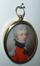 Portrait Miniature of army officer in red and black uniform in oval frame