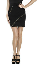 CAMILLA AND MARC Black Stretch Zipper Embellished Mini Skirt Sz 4 (US) NEW $275