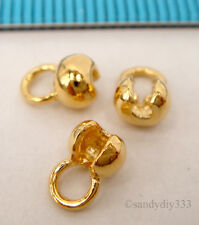 4x VERMEIL 18K GOLD plated on STERLING SILVER PLAIN CRIMP BEAD COVER 4.2mm G200