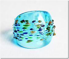 Galaxie, une bague en verre murano mouchetée turquoise T56 bijou mode lampwork