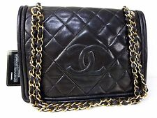 AUTHENTIC CHANEL LAMB LEATHER SHOULDER BAG COCO GHW W23 BLACK M919
