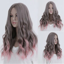Long Curly Wavy Hair Costume Lolita Gray Ombre Pink Fashion Women Full Wig