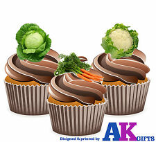 Allotment Gardener Garden Vegetable Mix 12 Edible Cup Cake Toppers Decorations