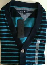 NWT Tommy Hilfiger Men's XXLarge Long Sleeve Striped Cardigan Navy 100% Cotton